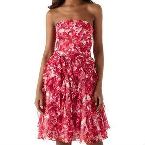 White House Black Market Pink / White Floral Dress